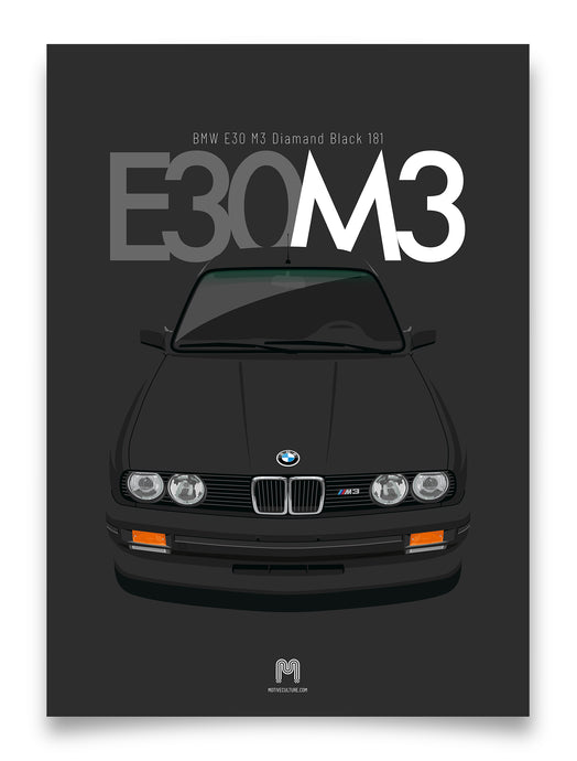 1990 BMW E30 M3 Diamond Black 181 - poster print