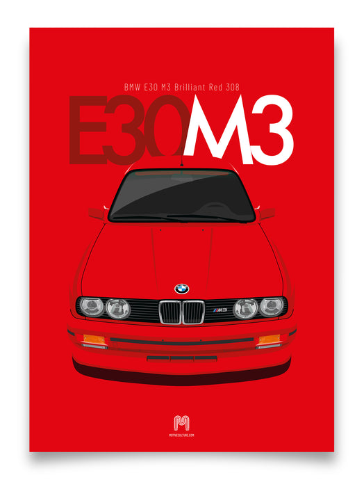 1990 BMW E30 M3 Brilliant Red 308 - poster print