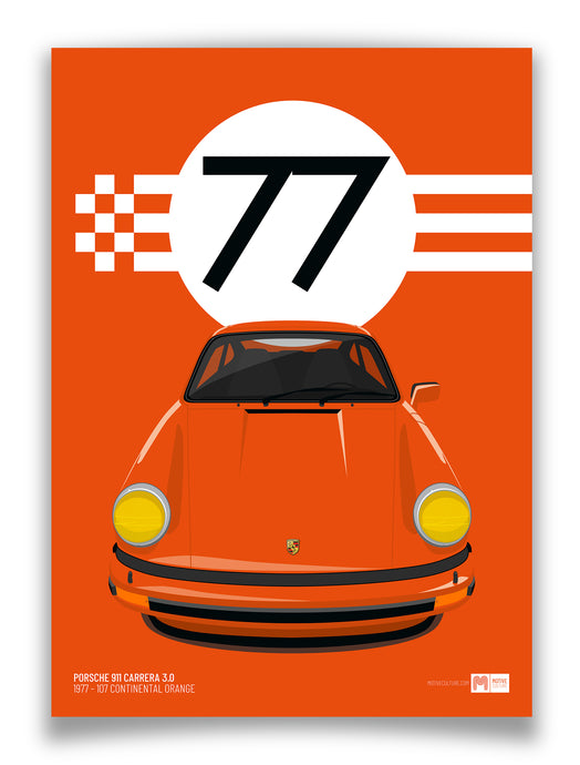 1977 Porsche 911 Carrera 3.0 - 107 Continental Orange - poster print