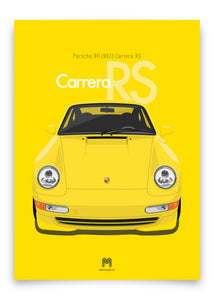 1995 Porsche 911 (993) Carrera RS Speed Yellow - poster print
