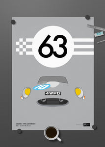 1963 Jaguar E-Type Lightweight - Silver - Limited Edition poster print