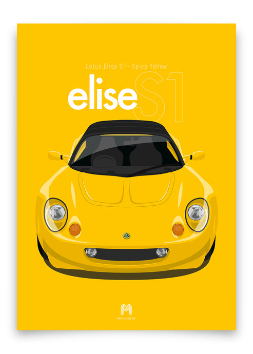 1997 Lotus Elise S1 - Spice Yellow - poster print