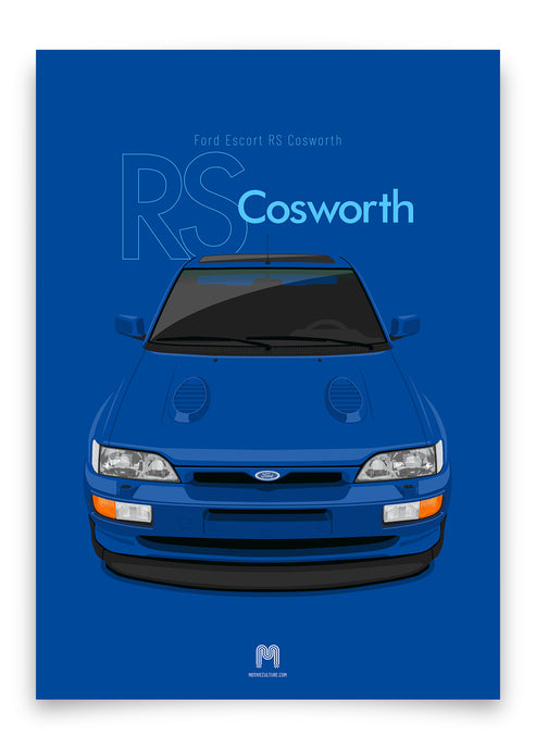 1992 Ford Escort RS Cosworth - Imperial Blue - poster print