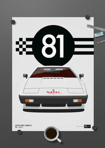 1981 Lotus Esprit Turbo S3 - White - Limited Edition poster print