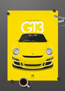 2006 Porsche 911 (997.1) GT3 Speed Yellow - poster print