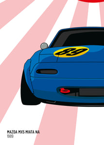 1989 Mazda MX5 Mk1 - Blue - Limited Edition poster print