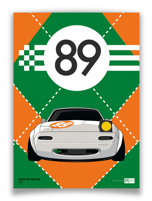 1989 Mazda MX5 Mk1 - White - Limited Edition poster print