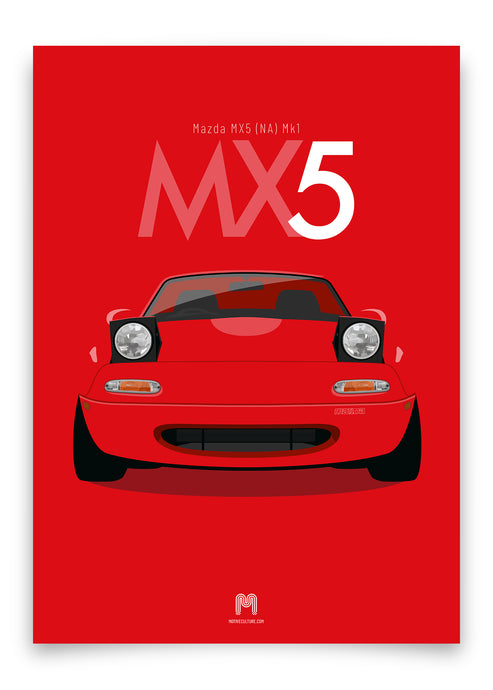 1990 Mazda MX5 Mk1 - Classic Red - Limited Edition poster print