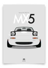 1990 Mazda MX5 Mk1 - Crystal White - Limited Edition poster print