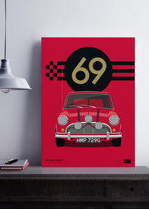 1969 Mini Cooper S - Italian Job - Red - Limited Edition Giclée poster print