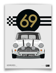 1969 Mini Cooper S - Italian Job - White - Limited Edition poster print