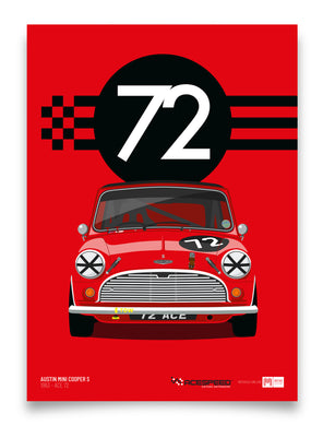 1963 Mini Cooper S - Official Licensed Acespeed™ 'Ace 72' poster print