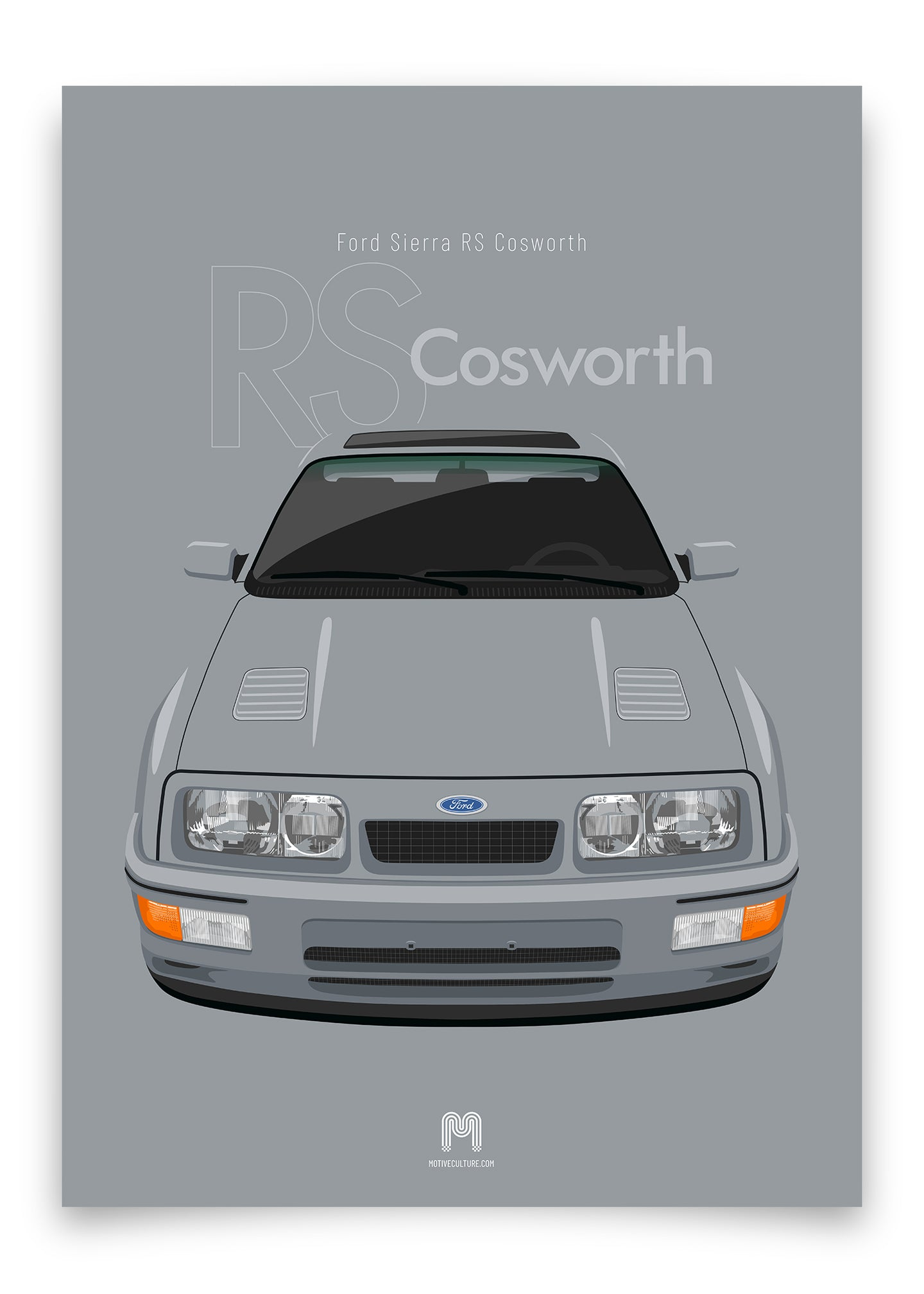 1986 Ford Sierra RS Cosworth - Moonstone Blue - poster print