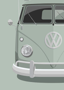 1960 Volkswagen Type 2 Transporter - Light Grey - poster print