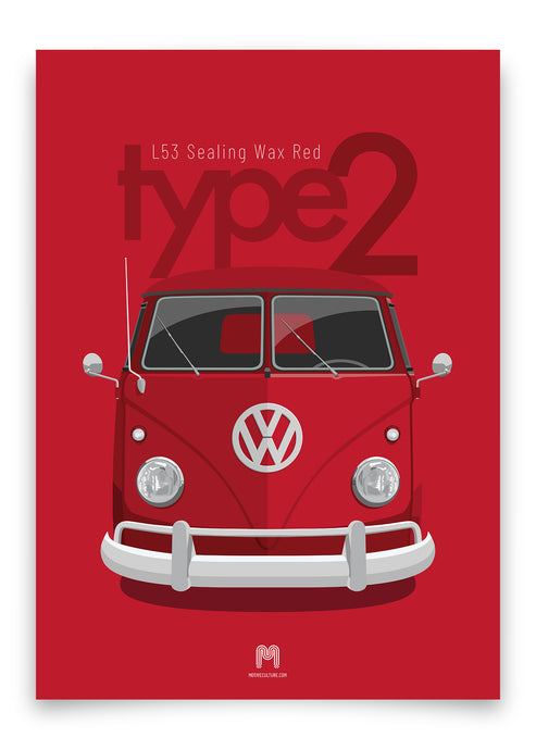 1960 Volkswagen Type 2 Transporter - Sealing Wax Red - poster print