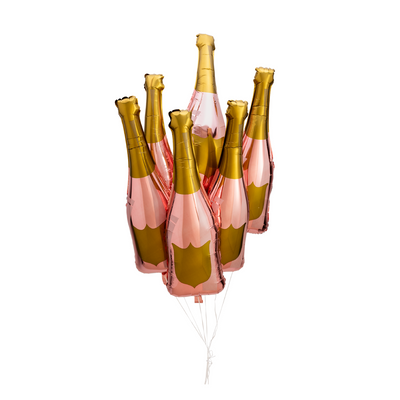 Six Rose Gold Champagne Bottle Balloons - Paper Confetti Events