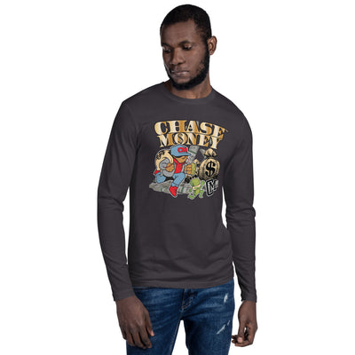 "Chase Money ""Money Bags"" Long Sleeve Fitted Crew Neck Tee"
