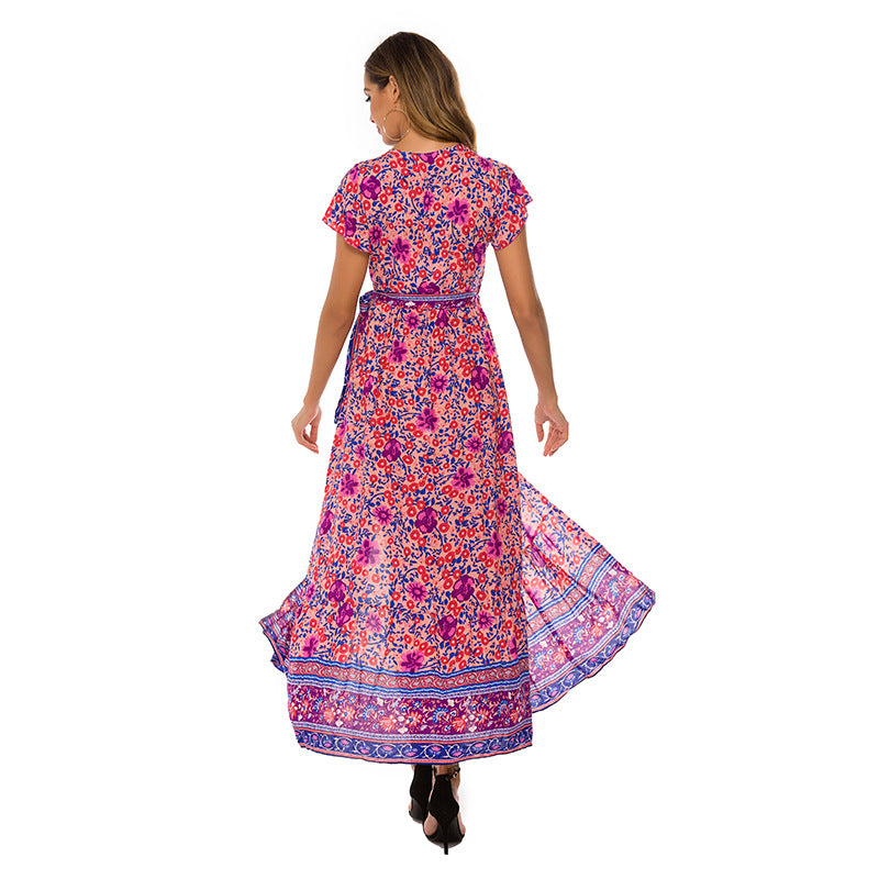 Vestidos Women Short Sleeve Dress Sexy V-neck Loose Long Dress Bohemian Beach Dress
