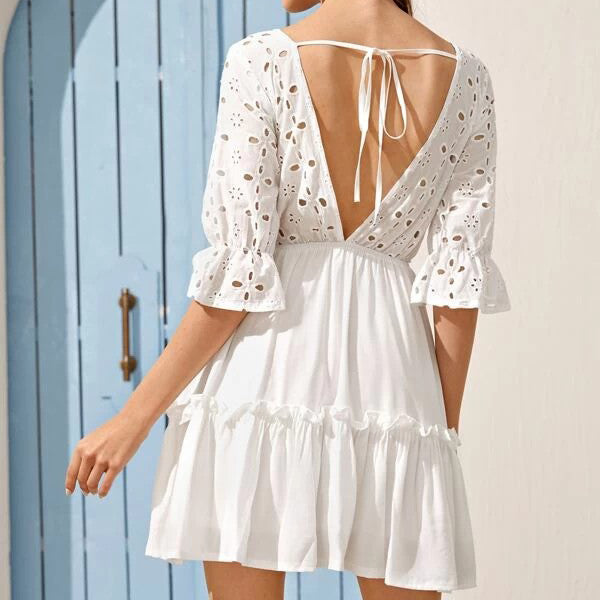 Tie Back Plunging Neck Eyelet Embroidered Ruffle Hem Dress
