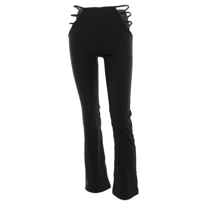 Women Black Sexy Cut Out Holes Pants Slim Fitness Sweat Pants Flare Hollow Out Trousers Streetwear Capris Pant