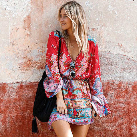 Vintage Women Floral Print Tassel V-neck Bohemian Mini Dress Ladies Flare Sleeve Boho Dresses