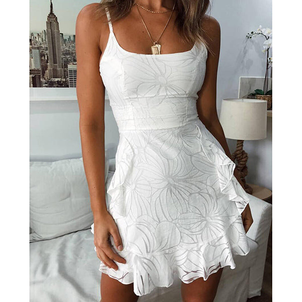 Mesh Dress Elegant Vestidos Sleeveless Backless Spaghetti Strap A Line Mini Ruffle Dress