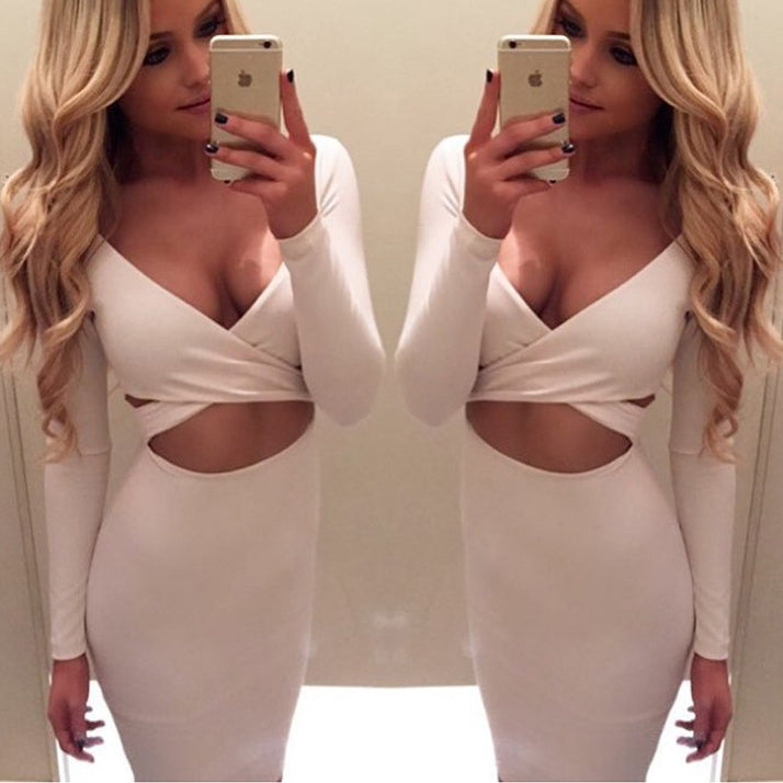 Long Sleeve Bodycon Midi Bandage Dress Women Cotton Elastic Elegant Sexy Dresses