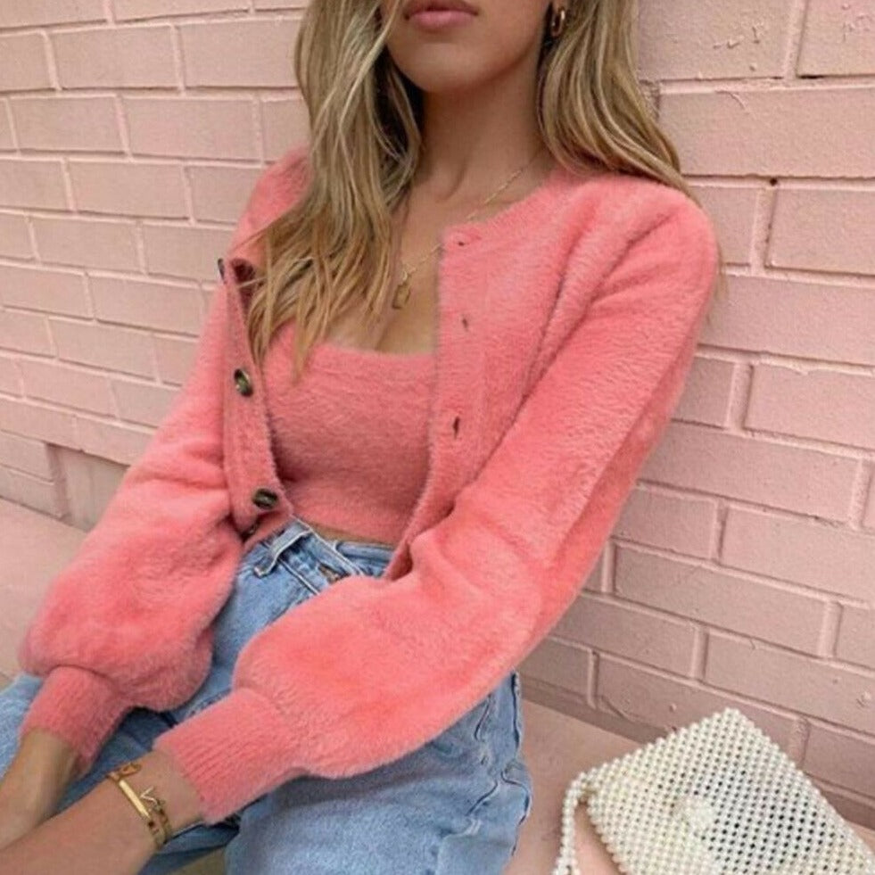 2 Pcs Casual Womens Long Sleeve Knitted Fluffy Cardigan Sweater Suit Female Pink Slim Button Crop Sweater Tops