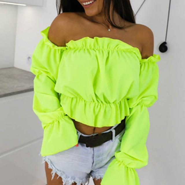 Candy Color Off Shoulder Crop Tops Women Dot Print Lantern Sleeve Shirts Lady Sexy Slash Neck Beach Blouse