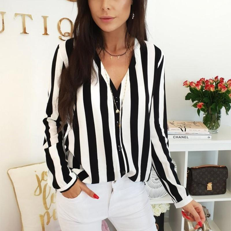 Blouse Women Casual Striped Top Shirts Blouses Female Loose Blusas Fall Casual Ladies Office Blouses Top Sexy