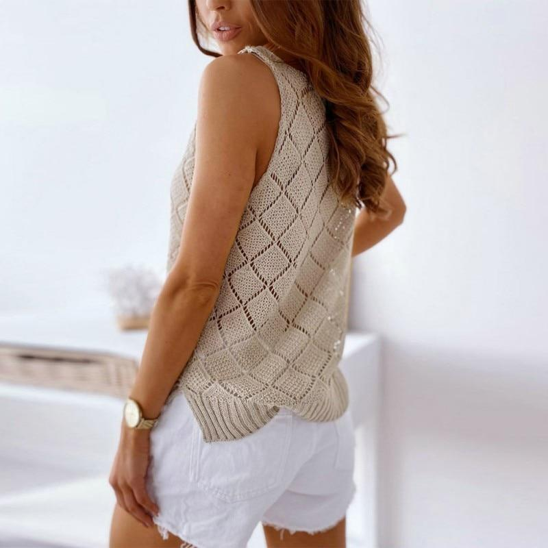 V-neck Hollow Wild Vest Hot Sweater Ladies Top T-shirt Suspender Comfy Knit Top Fashion