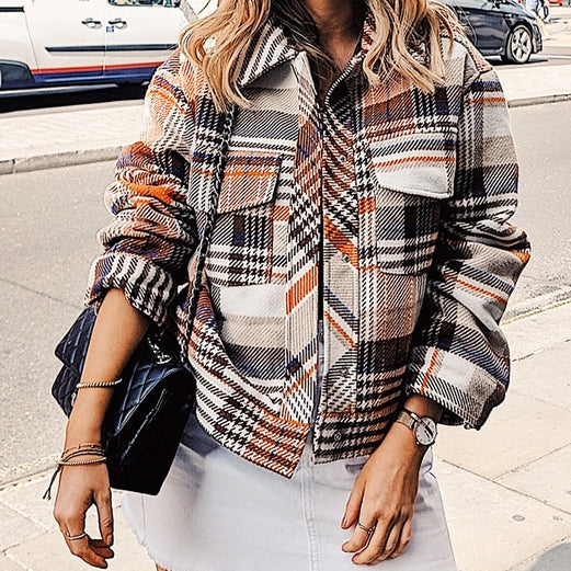 Vintage Casual Plaid Jackets Coat Women Long Sleeve Outwear Female Coat Streetwear Oversize Ladies Coats