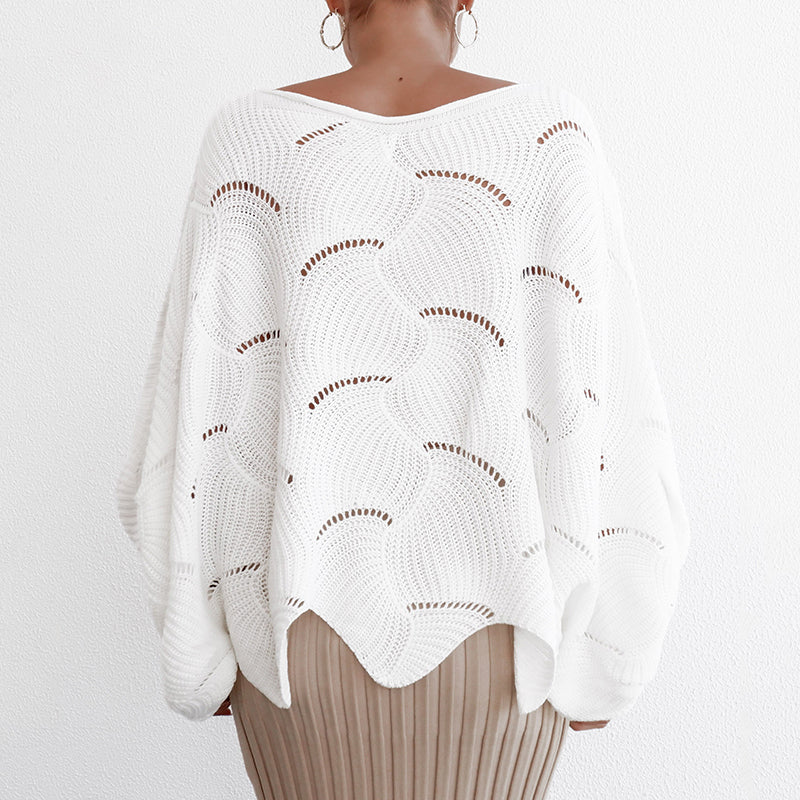 Batwing Sleeve Oversized Sweater Women Hollow Out White Jumper Ladies Long Pullover Winter Clothing