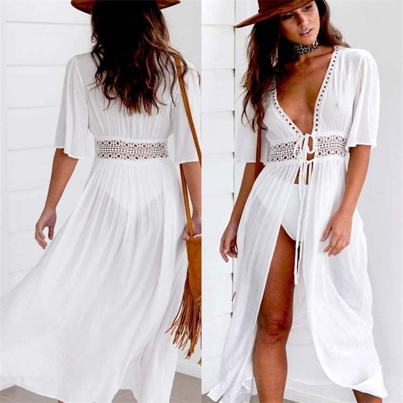 Beach Long Maxi Dress Women Beach Cover Up Tunic Pareo White V Neck Dress Robe Swimwear Bathing Suit Beachwear