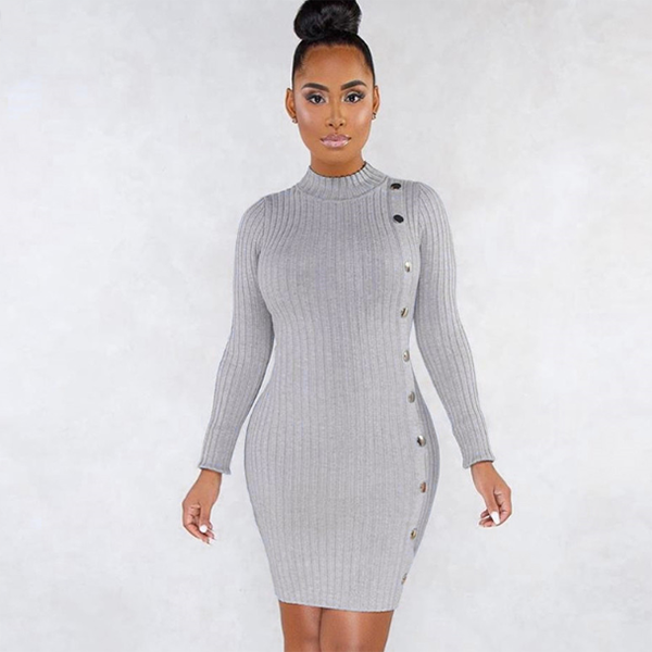 Christmas Party Night Simple Hip Dress Pure Women Elegant Knitted Bodycon Mini Dresses