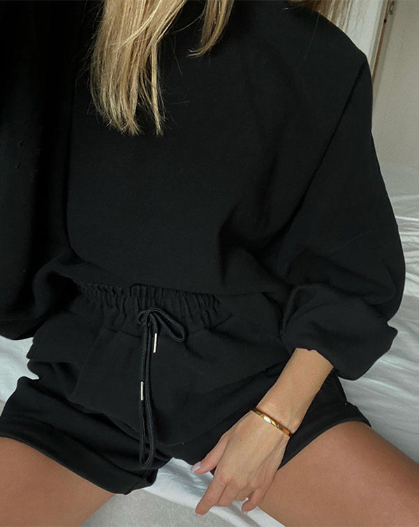 Casual Women Tracksuit Two Piece Set Oversize Sweatshirts and Shorts Sportswear Outfit Solid Set Two-Piece