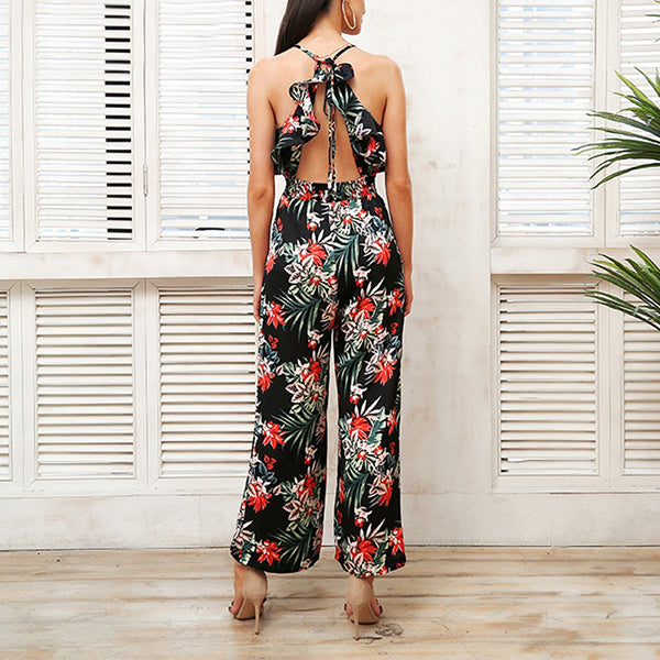 Backless cross rompers womens jumpsuit off shoulder floral print jumpsuit halter playsuit overalls