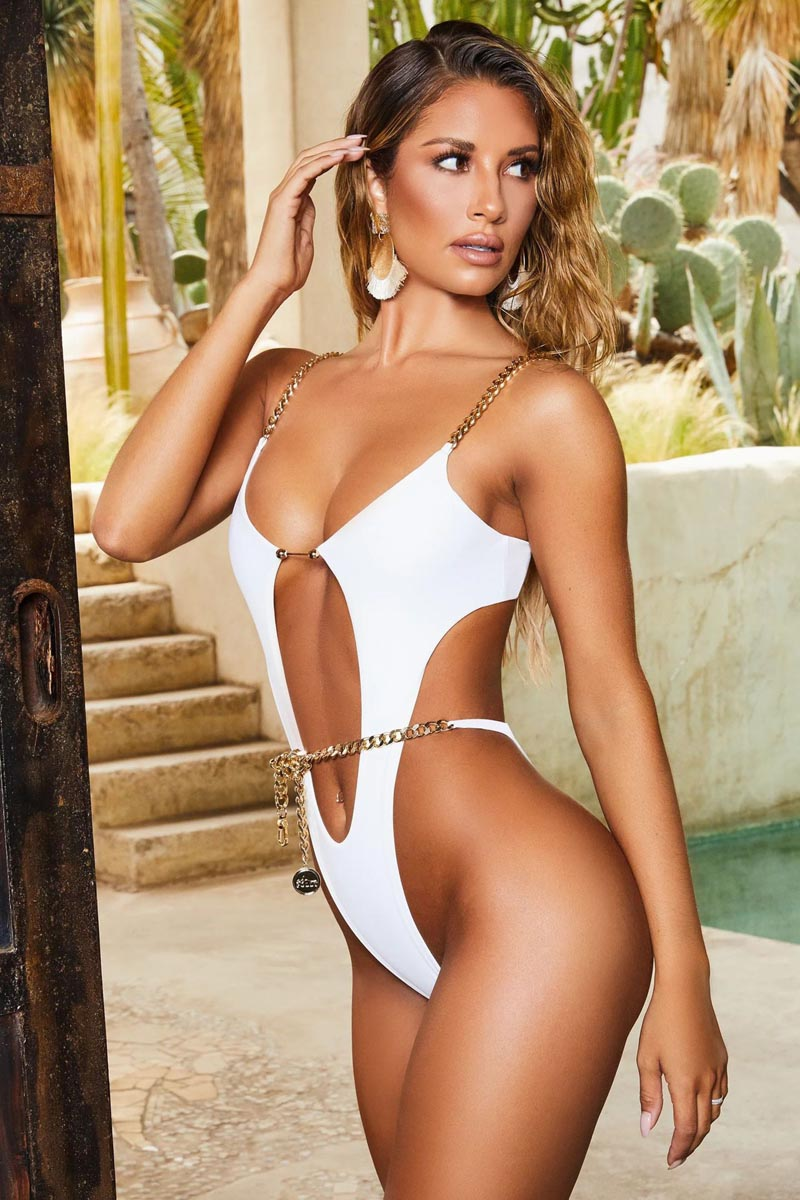 One Piece Swimsuit String Sexy High Cut Bikini Deep V  Swimwear Ring Chain Bodysuits Swim Suit