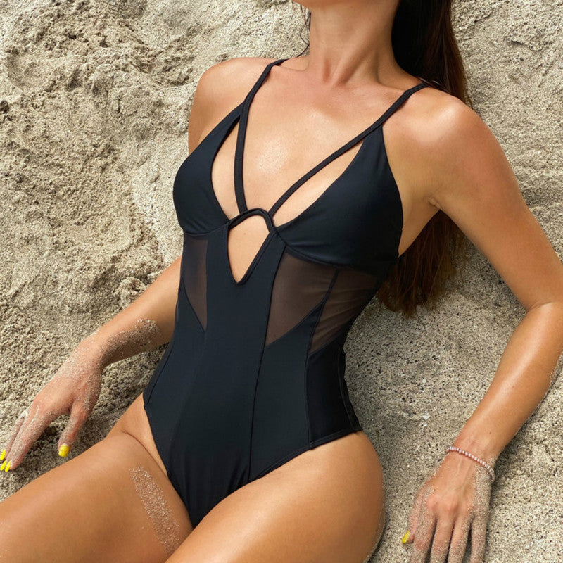 Sexy Mesh Hallow Out High Cut Women Swimwear One Piece Swimsuit Female Padded Bather Bathing Suit Swim