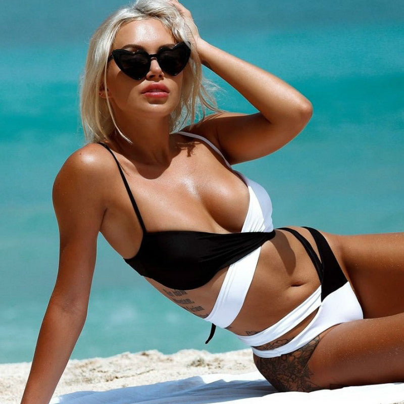 Sexy High Waist Patchwork Bikini Brazilian Swimsuit Female Swimwear Women Two-pieces Bikini Set Bather Bathing Suit Swim