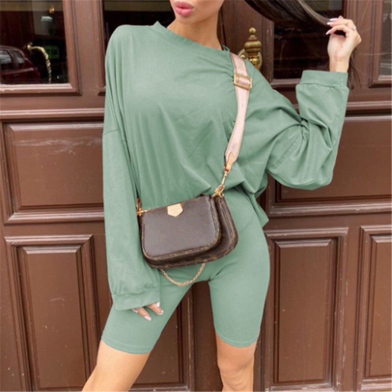 Basic Oversize Two Piece Short Set for Women Casual Tshirt and Shorts Set  Streetwear Joggers