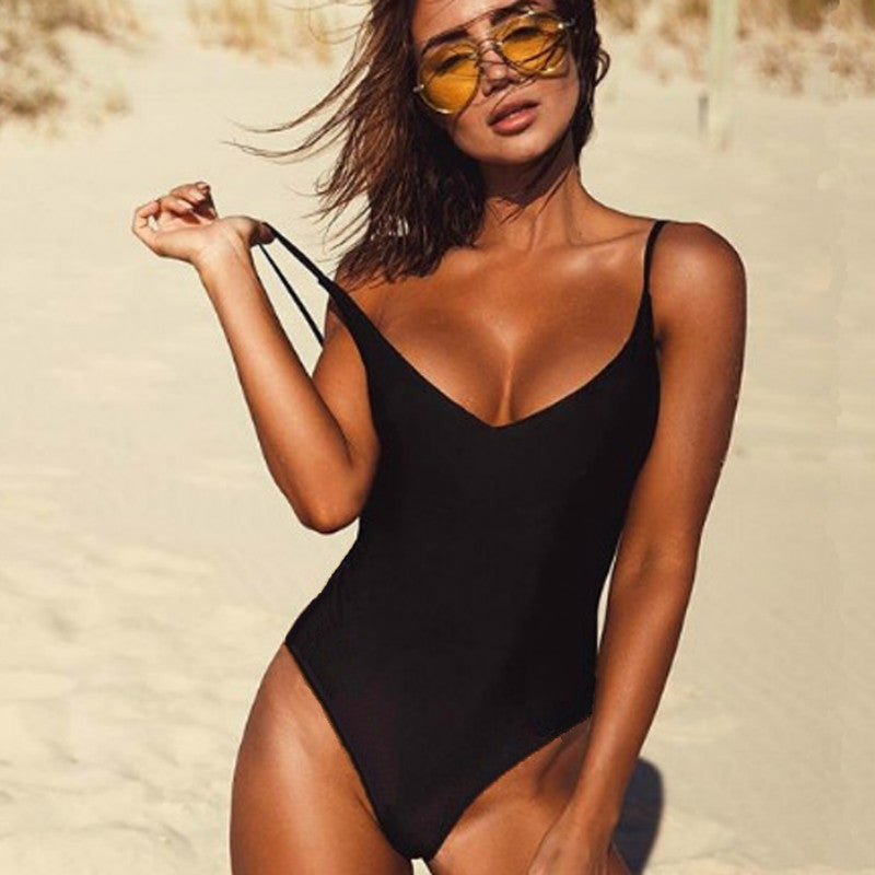 Women Swimwear Sexy High Cut One Piece Swimsuit Backless Swim Suit Thong Bathing Suit
