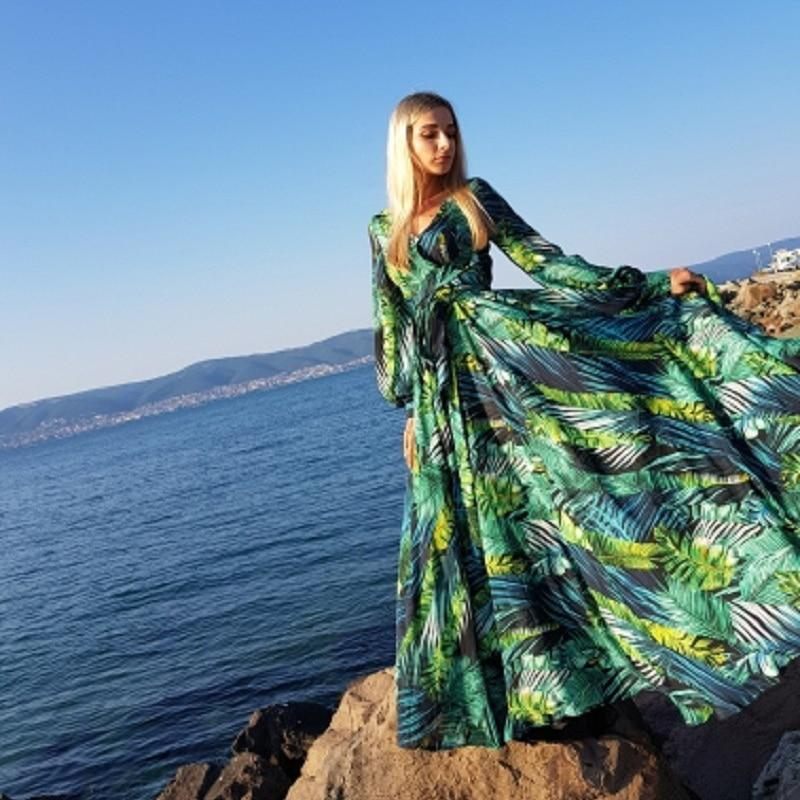 Floral Print Boho Maxi Dress Sexy Lady Bohemian Long Dress Women Beach Dresses Female robes strand jurkjes