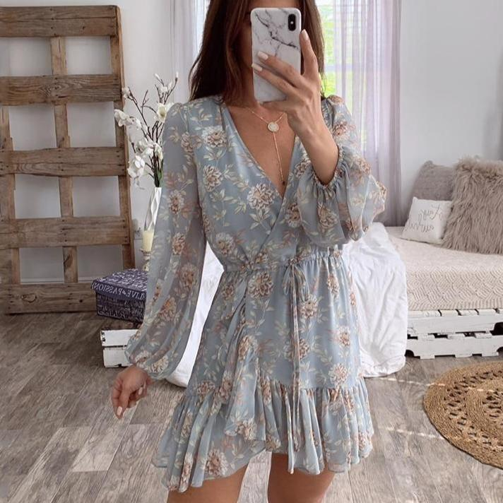 Sexy V-neck Floral Print Women Dress Elegant Ruffle Long Sleeve Hollow Out Dress Wrap Casual Beach Holiday Dress