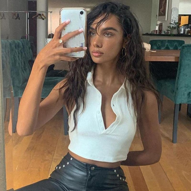 Halter Turn-down Collar Crop Top Sleeveless Button Skinny Elastic Tank Top Women Sexy Vacation Tops