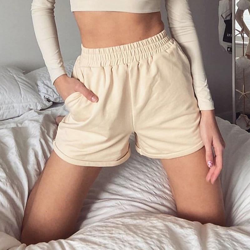 Women Clothes Solid Cotton Sport Casual Shorts Women Harajuku High Waist Shorts Short Pants Ladies