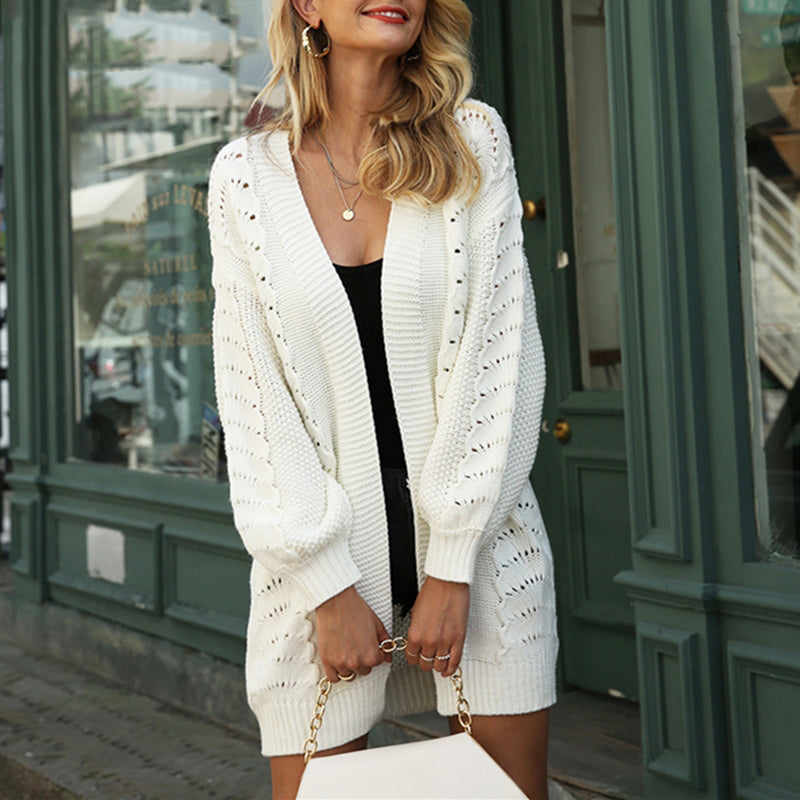 Casual loose women long cardigans hollow out female knitted sweaters Office ladies white sweaters jackets