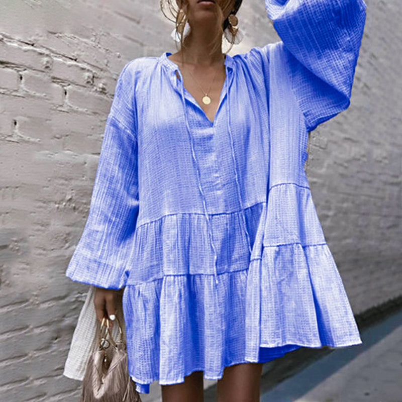 Casual v neck lace up women dress Lantern sleeve loose female mini dresses Ruffled cotton ladies vestidos