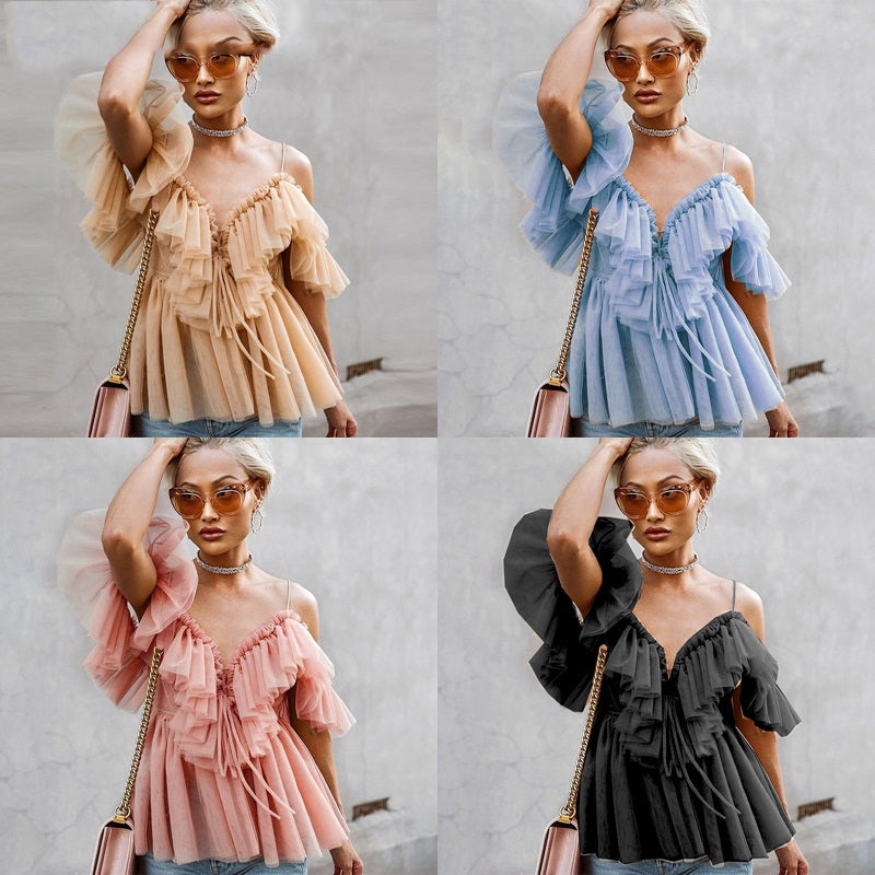 Off shoulder womens tops and blouses Backless sexy peplum top female Vintage ruffle mesh blouse shirt blusas