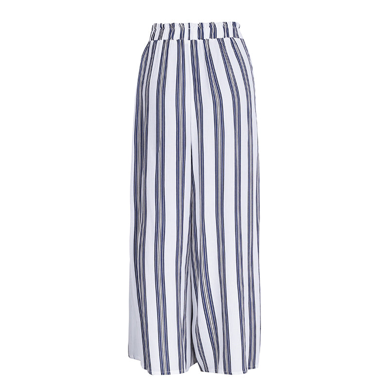 Sexy split wide leg striped pants women new casual high waist pants Elastic chic beach pants trousers femme